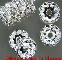 Wholesale Rhinestone Crystal Rondelle Silver Spacer - 8mm 600 pcs lot Mixed gold and Silver Plated white Clear Crystal Rhinestone Spacer Beads, Jewelry Findings Rondelle Loose Bead g2342