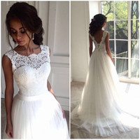 Wholesale Cheap Turkeys - Sexy Backless White Lace Beach Wedding Dresses Sheath Tulle Corset Cheap Wedding Dresses Elegant Berta Turkey Wedding Gowns Vestido De Novia