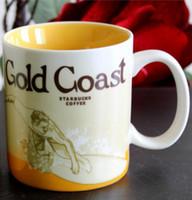 Wholesale Starbucks Ceramic Coffee Cups - 16oz Capacity Ceramic Starbucks City Mug Best Classical Coffee Mug Cup with Original Box Gold Coast City