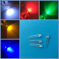 Wholesale led 3mm flat top - Wholesale- new Mix 100pcs 3mm 2pins Flat top White Red Yellow Blue Green Wide Angle light emitting diode lamp LED Free Shipping wholesale