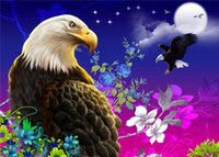 Wholesale Canvas Full Moon - New diy diamond painting cross stitch kits resin pasted painting full round drill needlework Mosaic Home Decor animal eagle moon yx1130