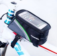Wholesale Bike Pouch Front - 5.5  4.8  4.2 Inches Roswheel Front Bike Frame Tube Bag for Cell Phone Cycling Touch Screen Case Pouch 7 colors