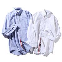 Wholesale Hot High Collar Top - hot classic 2017! men fashion long sleeve casual shirts high quality USA designer TB soft cotton shirt tops TB1701-95 SIZE M-XXL BLUE WHITE