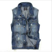 Wholesale Denim Vests For Men - Wholesale- Brand New Mens Denim Vest Frayed Vintage Blue Jean Waistcoat For Man Casual Sleeveless Jackets Streetwear Clothing