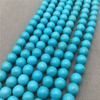 Wholesale MY0157 Smooth Round Blue Turquoises Beads Natural Stone Howlite Beads For Jewelry Making