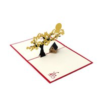 Wholesale birthday wishes samples - 2017 Pop UP Holiday Greeting 3D Cards Cherry Tree House Christmas Thanksgiving Gift cartoon is its style