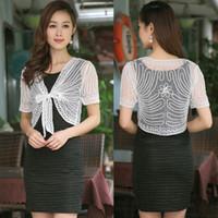 Wholesale xl shrugs - M L XL XXL Fashion Women Elegant Cardigan Shrugs Female Tops Blouse Summer Lace Front Tie Bolero Short Sleeve Shirt 6 Colors
