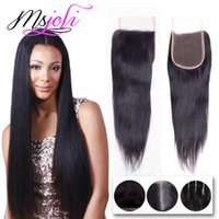 Wholesale Ms Queen - Indian Human Virgin Hair 4x4 Lace Top Closure Queen Hair Middle Free Three Parts Natural Black Straight 6-22 Inches From Ms Joli
