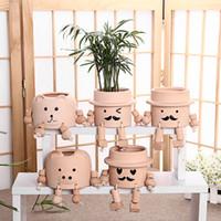 Wholesale Robot Ornaments - Garden Flower Pots Planters Ceramic Flower Pot Cute Cartoon Smile Robot Succulents Handmade Nursery Potted Home Ornaments