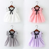 Wholesale Bow Tie Styles For Girls - 2017 Summer New Arrival Preppy Style Cotton Dress for Baby Girl Kids Casual Dresses with Bow Tie