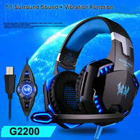 Wholesale Usb Surround Sound Headphones - KOTION EACH G2200 USB 7.1 Surround Sound Vibration Game Gaming Headphone Computer Headset Earphone Headband with Microphone LED Light