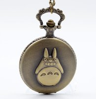 Wholesale Animated Boy - Luxury watch My Neighbor Totoro Japanese Animated Film Movie Totoro Dial Quartz Pocket Watch Necklace Men Women Boy Girl Pocket Fob Watch