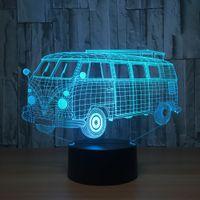 Wholesale Buses Gift Box - Bus 3D Illusion Lamp Night Lamp 7 RGB Night Light USB Powered AA Battery Dropshipping Retail Gift Box