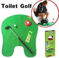 töpfchen putter wc golf spiel großhandel-Neue exotische Freizeitsportarten gute Qualität Potty Putter WC Golfspiel Minigolf Set WC Golf Putting Green
