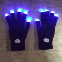 Wholesale Led Flashing Light Stick Rainbow - Wholesale- Rainbow Flash Fingertip LED Gloves Unisex Light Up Glow Stick Gloves Mittens