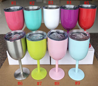 Wholesale 10oz Stainless Steel Wine Glass Colors Double Wall Insulated Metal Goblet With Lid Rambler Colster Tumbler Red Wine yetis Mugs