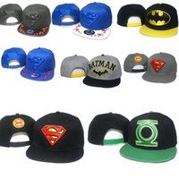 Wholesale marvel hats - HOT SALE Brand New DC Comics Snapback Cap BATMAN Adjustable superman Hats Men Woman Baseball hats Fashion hip hop Hats MARVEL Cartoon style