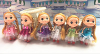 Wholesale 12cm Baby Dolls - 12CM 6Colors Wholesale Mix Style Mini DDung Doll Toy For Girl Child Print Cloth Dress Cartoon Pendant Keychain For Bags Fashion
