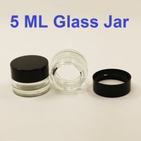 Wholesale Small Plastic Jars Lids - Transparent dab wax oil vaporizer glass jar 5 ml small tempered glass container custom pyrex glass storage container with plastic lid