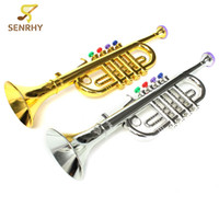 Wholesale Toy Trumpet Wholesale - wholesale Gold Silver Developmental Plastic Boys Girls Children Toys Gift Musical Instrument Trumpet 37x10cm