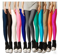 Wholesale milk silk leggings - Wholesale- Spring and summer thin candy color milk silk women's leggings nine points Slim shiny pants slim black trousers women leggings