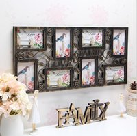 Family Love Wall Hanging Photo Collage Frame 8 Immagine Display color bronzo Home Decor