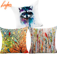 Wholesale Abstract Cotton Fabric - Hyha Painting Polyester Cushion Cover Birds and Woods Abstract Art Color rendering Bear Decorative Pillows Cover for Sofa Cojine