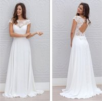 Wholesale Petite Casual Dresses Images - Bohemian Casual Wedding Dresses Keyhole Back with Cap Sleeves Beach Bridal Gown 2017 Simple Formal Wedding Dress