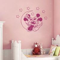 Wholesale Minnie Wallpaper - Best friend Mickey and Minnie Vinyl Wall Stickers Moon Star Wall Art Decals for Baby room decor Nursery wallpaper 50*62 cm