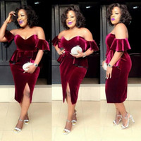 Wholesale White Velvet Tea Length Dress - Burgundy Velvet Plus Size Prom Dresses South African Sexy Off Shoulder Evening Gowns Peplum Formal Party Vestidos Custom Made