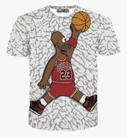Wholesale Cartoon Character Tshirt - tshirt Men's cartoon t-shirt Hip hop t shirt 3d print funny character play basketball tshirt summer tops tees 5810