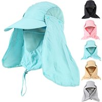 Wholesale 20pcs Newest Outerdoor Sun UV Protection Fishing Hat With Removable Neck Face Flap Cover Hiking Camping Visor Caps ZL3026