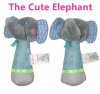 Wholesale Newborn Crib Toys - Wholesale- Baby Rattles Mobiles 14cm*10cm Elephant Stick Bird Sound Toy ring bell Infant Baby Crib Stroller Toy 0+ month Plush Newborn Soft