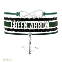 Wholesale Green Arrow Leather - (10 PCS Lot) Infinity Love Canary Green Arrow Charms Bracelets For Women Men Gift Green Black Multilayer Leather Hunting Wrap Bracelets