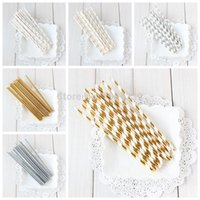 Wholesale Silver Paper Straws - Wholesale-25pcs lot Gold  Silver Design Paper Straws For Birthday Wedding Decorative Party Event Supplies Creative Paper Drinking Straws