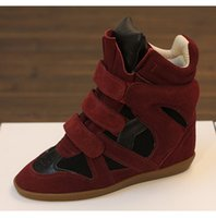 Wholesale Green High Wedges - Top Quality 2017 Fashion Buckle Wedge Ankle High Casual Shoes Women Isabel Genuine Leather Height Increasing Lady Platform Patchwork Shoe