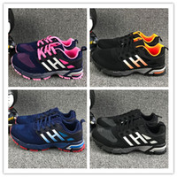 Wholesale Marathon Gifts - Christmas gift 2017 New Trend Fly Line Design Men Women Trainers Shock Resistance Air Cushion Marathon Running Shoes size 36-45