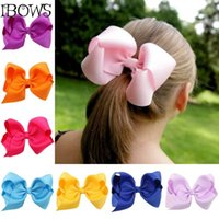 "Wholesale Cheap Girls Bows For Hair - Wholesale- 30 Color 4"" Fashion Boutique Ribbon Hair Bow For Baby, Girls Toddler Solid Hairbows Hairclip, Hamdmade Cheap Price bow For Fids"
