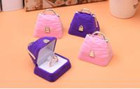 caixas de jóias rosa roxo venda por atacado-[Sete Simples] Linda Roxo / Rosa Bolsa Anel Caixa De Plástico Reunindo Colar Caixa De Jóias Brinco Ear Stud Caso Para As Crianças