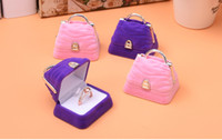 Wholesale Plastic Flock Box - [Simple Seven] Lovely Purple Pink Handbag Ring Box Plastic Flocking Necklace Jewelry Box Earring Ear Stud Case For Children