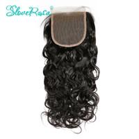 rosa saç kapatma toptan satış-Sloveny Rosa 4X4 Brezilyalı Su Dalgası Kapatma 3 Yollu Bölüm İnsan Saç Kapatma Brezilyalı Remy Saç Dantel Kapatma Islak ve Dalgalı Ağartılmış Knot