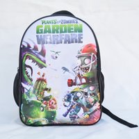 Fashion Plants vs. Zombies Backpack Stampa Cartoon Game Bag Bambini Anime School Bag con stampe simpatiche disegno di colore nero