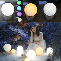 Wholesale Usb Rechargeable - 3D LED Night Magical Moon LED Light Moonlight Desk Lamp USB Rechargeable 3D Light Colors Stepless for Home Decoration Christmas lights