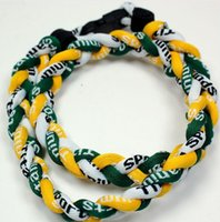 cuerda trenzada blanca amarilla al por mayor-Promoción - 400PCS / Lot Baseball Sports Titanium 3 cuerdas trenzado verde blanco amarillo GE collar RT046