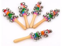 Rattle Wooden Rainbow Colorful Hand Ringer Shaker Toy Baby Bell Clapper Estimular a capacidade auditiva Música Brinquedos educativos