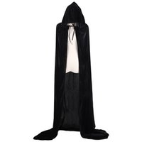 Wholesale white women costume online - Adult Witch Long Halloween Cloaks Hood and Capes Halloween Costumes for Women Men Cosplay Costumes Velvet Cosplay Clothing