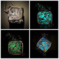 Wholesale Steampunk Locket Necklace - 2017 luminous Steampunk Cute Magic Fairy Locket Glow In The Dark Pendant tree of Life Necklace