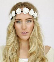Wholesale Mix Flower Pictures - 2017 europe hot Lady elastic hair band Bride Bridesmaid wreath headdress hair beach tourism flowers Pictures
