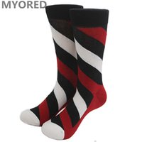 Wholesale Wholesale Colorful Knee High Socks - summer style colorful mens brand cotton long knee high jacquard socks striped big dot hit color happy socks for couple 100pair DHL