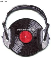 "Wholesale Dj Wearing - 3"" VINYL RECORD wearing headphones dj PATCH crimson ghost Heavy Metal Music PUNK Rock Band Embroidered IRON ON Applique"